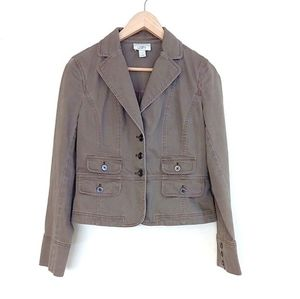 Ann Taylor LOFT Mauve Brown Denim Crop Blazer